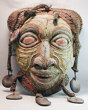MULTICOLORED AFRICAN FACE BEADED BAMILEKE ANCESTRAL HEAD CREST USED MASK ETHNIX
