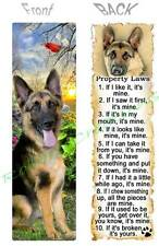 GERMAN SHEPHERD BOOKMARK Police DOG RULES Property LAWS Book Mark Card Figurine