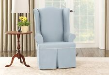 Wing chair Sky Blue Cotton duck canvas piping One Piece Slipcover sure fit