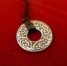 Antiqued Silver Plated Pewter Celtic Knot Donut Pendant on black cord