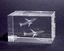 FERMACARTE CRISTALLO CRYSTAL PAPERWEIGHT LASER 3D - AIR FRANCE A320-A321