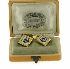 Faberge Antique August Wilhelm Holmstrom Diamond Yellow Gold Cufflinks