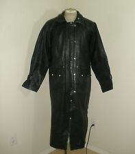 Vintage HEAVY LEATHER Australian DUSTER DROVER Outback riding Long Coat Jacket L