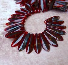 Strand of 50 glass beads- 2 hole Dagger Beads Red with Black Swirl daggers