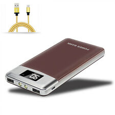 Brown 50000mah Power Bank 2USB Dual LED LCD External Backup Pack Battery Charger