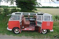 1960 Volkswagen Bus, Camper, VW Van, Red/White, Refrigerator Magnet