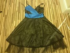 LOVELY LADIES SONIC OF LONDON BLACK/BLUE SILKY DRESS  SIZE 10 GOTHIC
