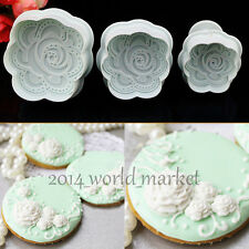 3Pcs Rose Flower Plunger Fondant Decorating Cake Cookie Craft Cutters Mould #T