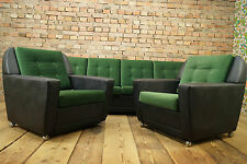 60s LIVING ROOM SET LOUNGE DANISH SUITE SOFA BED COUCH & 2x EASY CHAIR VINTAGE