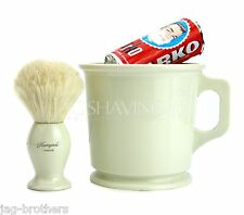 3 PIECE SHAVING SET MUG,SHAVING BRUSH AND ARKO SHAVING SOAP