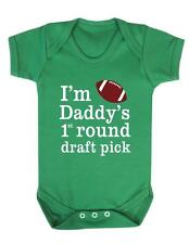 "Baby Grow ""American Football - Daddys 1st round Draft Pick""  Football- Baby grow"