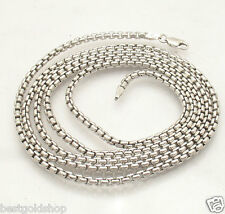 "30"" 3mm Anti-Tarnish Round Venetian Box Chain Necklace Solid Sterling Silver"