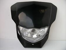 NEW UNIVERSAL BLACK MOTORCYCLE STREETFIGHTER HEADLIGHT CUSTOM ALIEN ROAD LIGHT