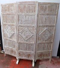 Paravento Separè in Legno di teak bianco decapato fatto mano cm179x166 testata