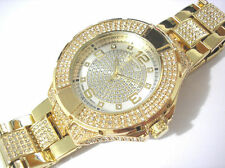 Iced Out Bling Bling Big Case Hip Hop Techno King Men's Watch Gold Item 2141