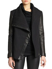 NWT NEW   HELMUT LANG  BLIZZARD BLACK JACKET COAT LEATHER TRIM $995 SIZE   S