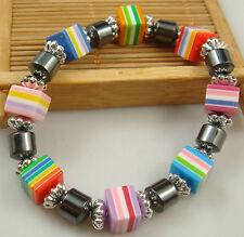 1x fashion accessories charm bead spacing haematite Stretch Bracelet hot 2jh