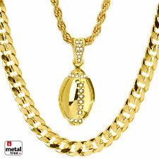 """Hip Hop NEW Football Pendant 22"""" Rope & 30"""" Concave Cuban Heavy Chain MHC 23 G"""