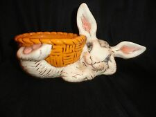 1970 Vintage Hand-painted Reclining Bunny with Basket