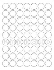 6 SHEETS 1 IN ROUND BLANK WHITE *GLOSSY* STICKERS LABELS CUSTOM.