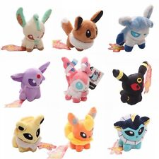 "9 PCS Pokemon CHIC Pikachu 5"" Plush Stuffed Eevee Squirtle Bulbasaur + Stickers"