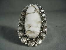 MORE UNIQUE IMPORTANT NAVAJO BEN BEGAYE WHITE BUFFALO TURQUOISE SILVER RING