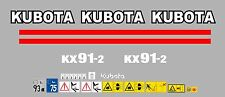 KUBOTA KX91-2 MINI DIGGER COMPLETE DECAL SET WITH SAFETY WARNING SIGNS
