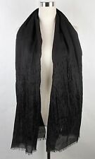 New Bottega Veneta Dark Brown Wool Silk Long Scarf Velvet Detail 298565 2060