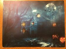 Tin Sign Vintage Halloween Haunted House With Glowing Pumpkins