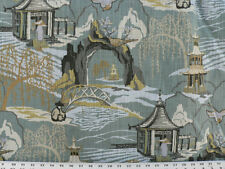 Drapery Upholstery Fabric Linen-Look Slub Asian Countryside Design Toile - Teal