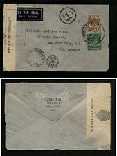 Straits Settlements  censor postage due airmail cover to US  1939      GB0928