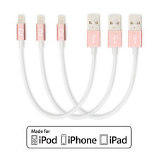 3-Pack of Short Apple MFI Certified Lightning to USB Cables White / Rose Gold