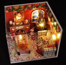 XMAS Geschenk DIY KIT Weihnachten LED Pupenhaus Pupenstube aus Holz mit Möbel