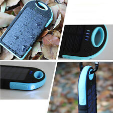 Portable Waterproof Dual USB 8000mAh Solar Battery Power Bank LED Charger Mobile