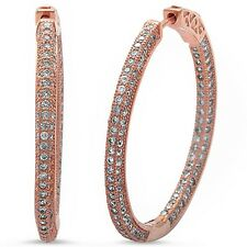 Rose Gold Plated Pave Cz Hoop .925 Sterling Silver Earrings