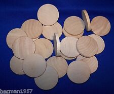 "25 Natural Unfinished HardWood 2"" Wood Circles Discs Wooden Crafts  Game Spacers"