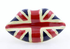 PESANTE e robusto Smalto Labbra DOUBLE Finger Ring con motivo Union Jack