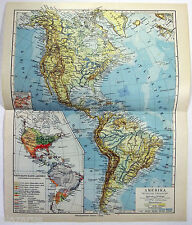 Vintage Original 1924 German Physical Map of the America's