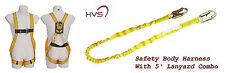 FALL PROTECTION HARNESS WITH 5' SAFETY LANYARD COMBO FALL SAFETY KIT