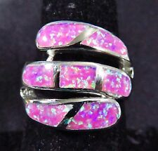 "Sterling 925 Silver SF Size 8 Ring Large Gorgeous Pink Lab Fire Opal 3/4"" Wide"