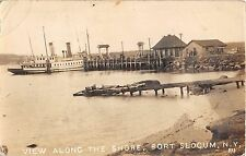 1917 RPPC Steamer in Harbor Fort Slocum New Rochelle NY Westchester County