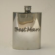 Handcrafted English Pewter Best Man Pewter Hipflask 6oz Wedding Gift  8408