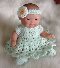 "Crochet Doll Clothes for 5"" Berenguer Itty Bitty Baby Mint 4 pc Outfit"
