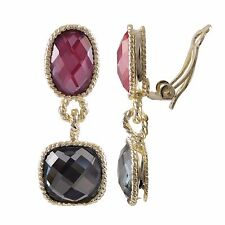 Gold Finish Rose Pink & Dove Gray Crystals Square & Oval Dangle Clip On Earrings