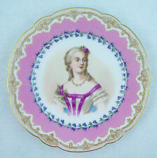"19th C Sevres Du Barry Hand Painted Porcelain Plate  9 3/8"" (23.5 cm)"