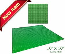 "Genuine LEGO Brick & LEGO compatible 10""x10"" Green Base Plate for Block Building"