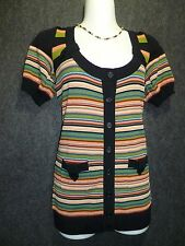 NANETTE LEPORE Multi-color Stripped Knit Cardigan Sweater SZ S NEW