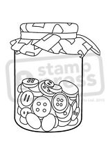 A7 'Jar Of Buttons' Unmounted Rubber Stamp (SP002907)