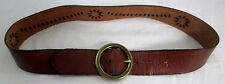 Hand Tooled Woven Leather Belt Brass Ring Buckle Weave Deco Mossimo Supply