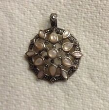 Medallion Pendant Enhancer Marcasite  Pink Mother Of Pearl Sterling Silver  Gift